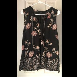 Black floral Sleeveless Lucky Brand top